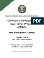 PY38 COMMUNITY DEVELOPMENT BLOCK GRANT APPLICATION