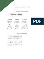 Área y perímetro de un triángulo