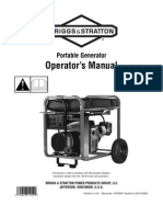 Briggs & Stratton Elite Portable Generator Operators Manual Model # 030241