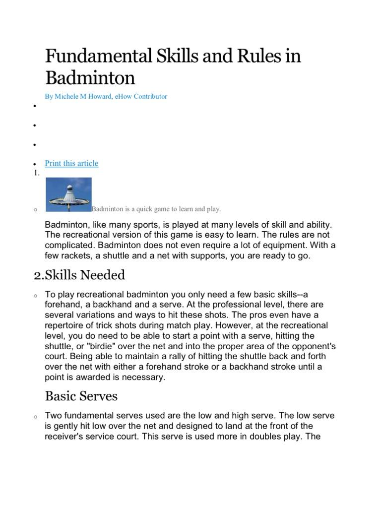 easy badminton rules