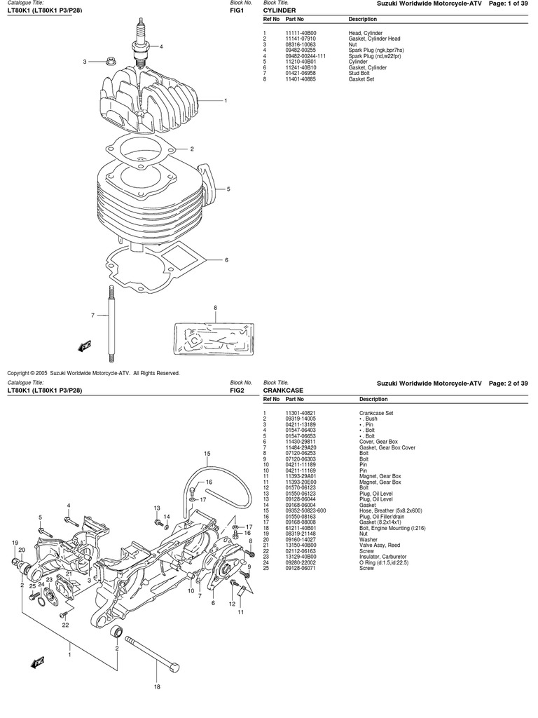 80cc (LT80 1996-2001) Suzuki ATV Parts List
