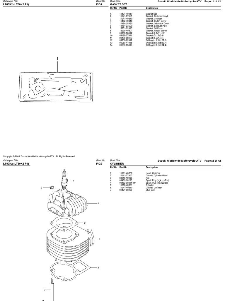 80cc (LT80 2002-2006) Suzuki ATV Parts List