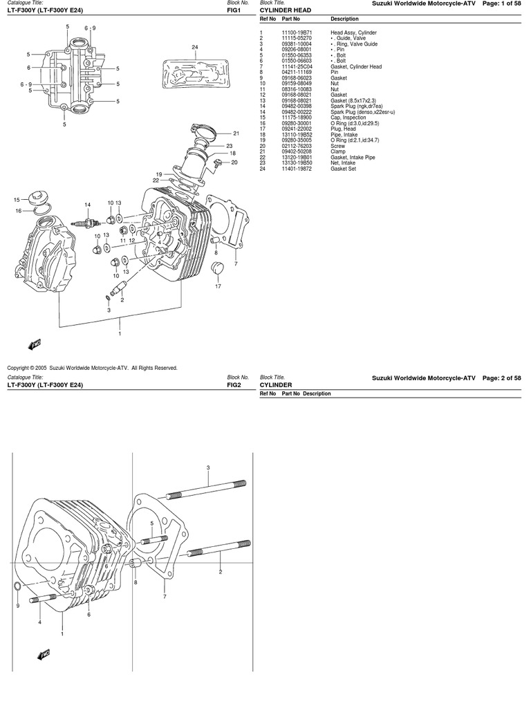 300cc (LT-F300 AK44A 1999-2000) Suzuki ATV Parts List