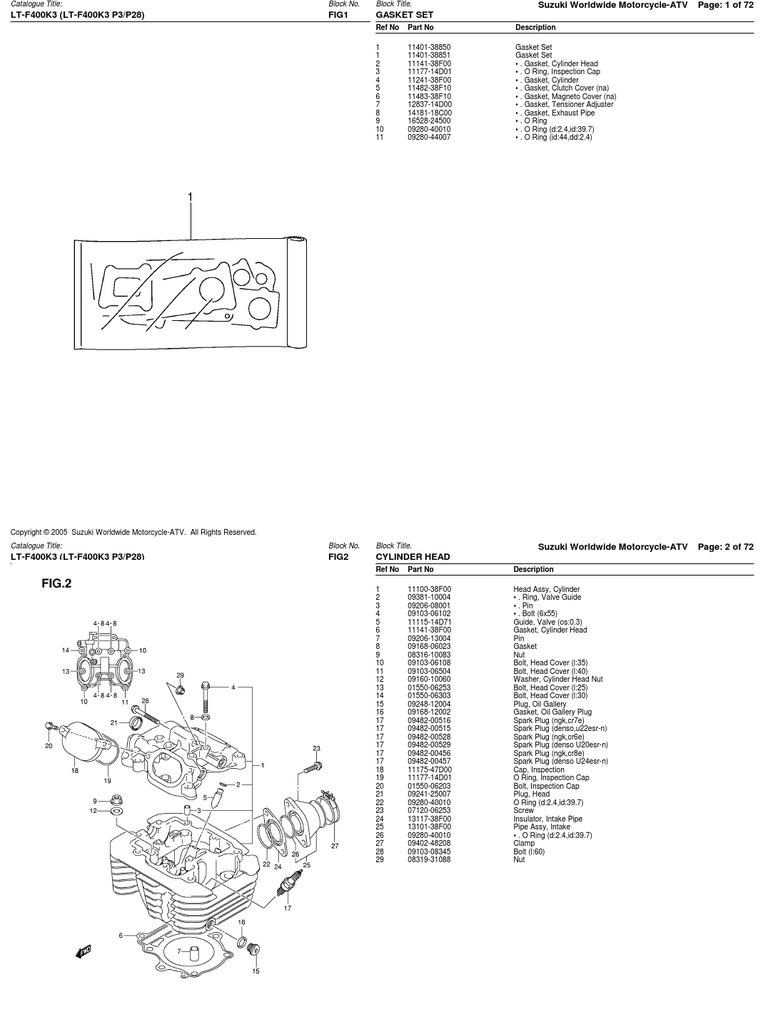 400cc (LT-F400 AK45A 2003-2006) Suzuki ATV Parts List