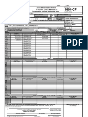 1604-CF form | Withholding Tax | Employment