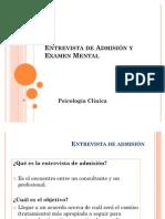 Entrevista de Admisión y Examen Mental