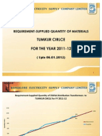 Tumkur Circle - requirement /supply of line materials for the year 2011-12 till 06.01.2012