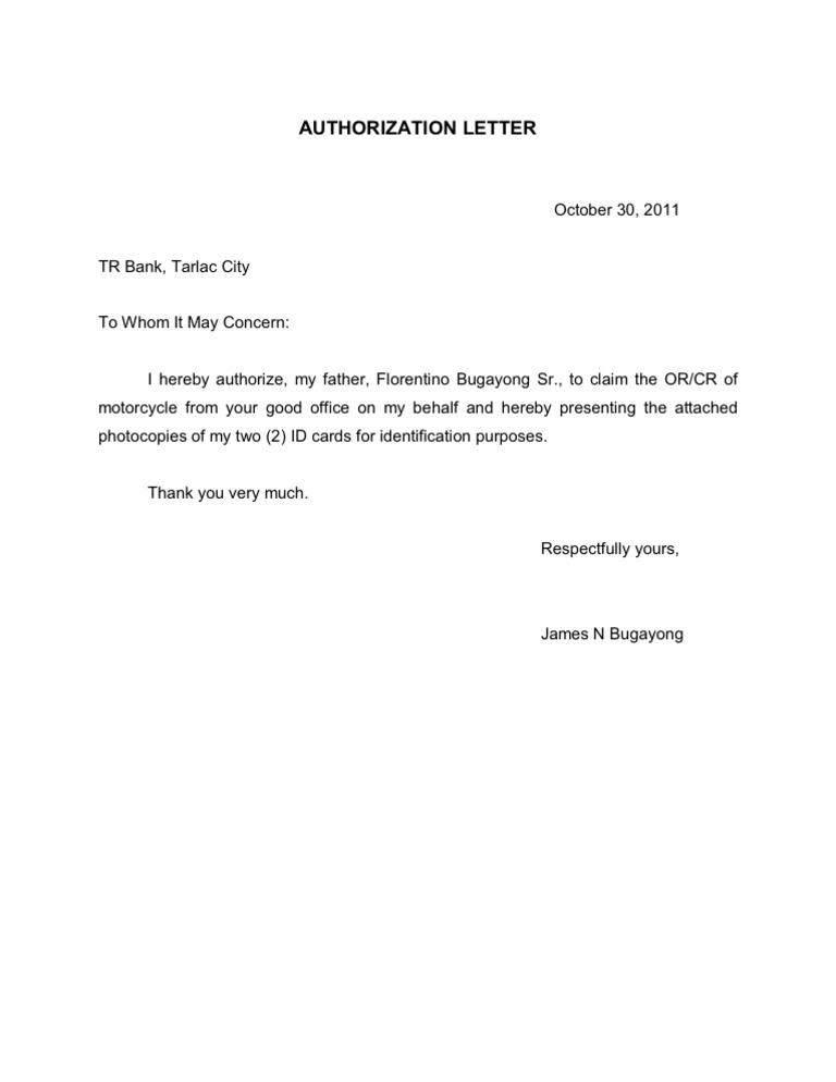 Authorization Letter (Motor Vehicle)Authorization Letter