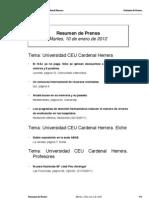 Resumen Prensa CEU-UCH 10-01-2012