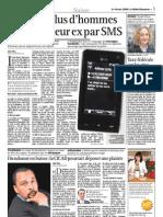 Toujours plus d'hommes harcèlent leur ex par SMS, Le Matin Dimanche, 1er février 2009
