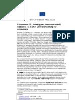 Consumers - EU Investigates Consumer Credit Websites