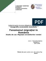 16582671 Fenomenul Migratiei in Romania Migratia Cercetatorilor Romani