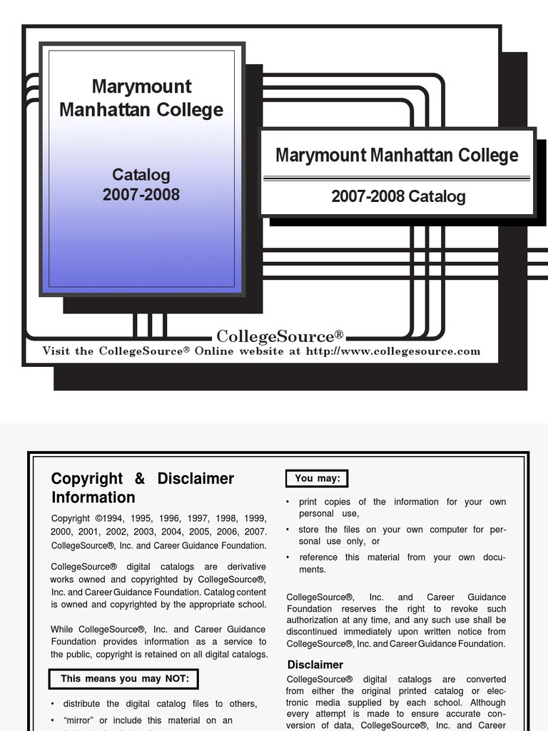 Marymount Manhattan Catalogue | Curriculum | College