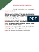 Critères de segmentation