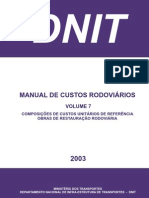 MANUAL DE CUSTOS RODOVIÁRIOS - VOLUME 7