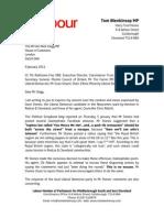Tom Blenkinsop MP letter to Nick Clegg