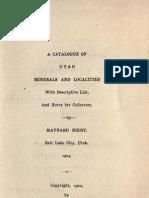 Bixby Catalog of Utah Minerals 1902