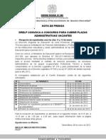 DRELP CONVOCA A CONCURSO PARA CUBRIR PLAZAS ADMINISTRATIVAS VACANTES