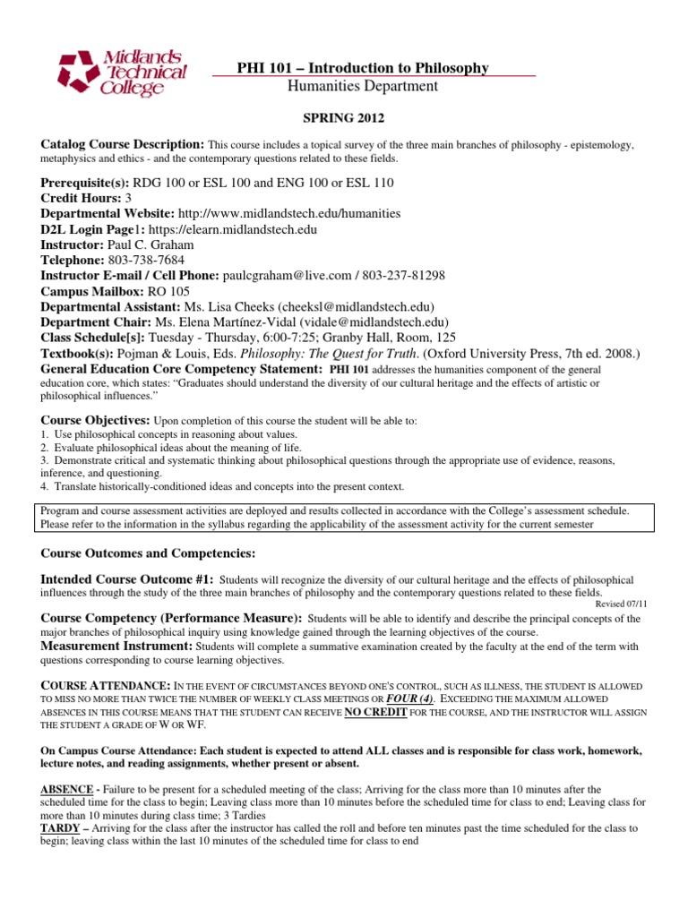 Syllabus Mtc Philosophy 101 A51 Spr12 Homework Test Assessment