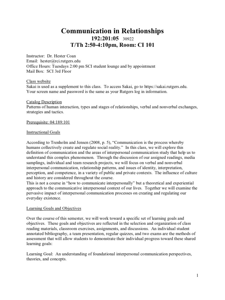 Comm Relations Syllabus | Interpersonal Communication | Test