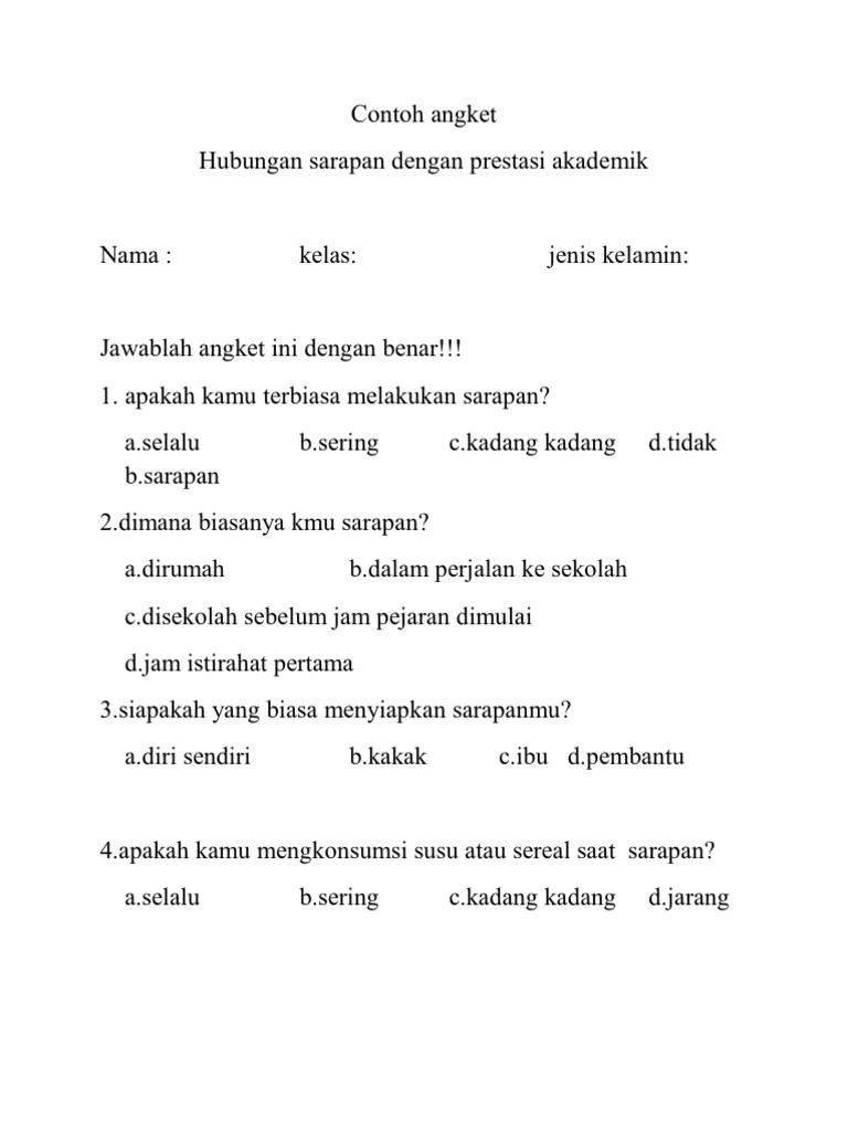 Contoh Angket