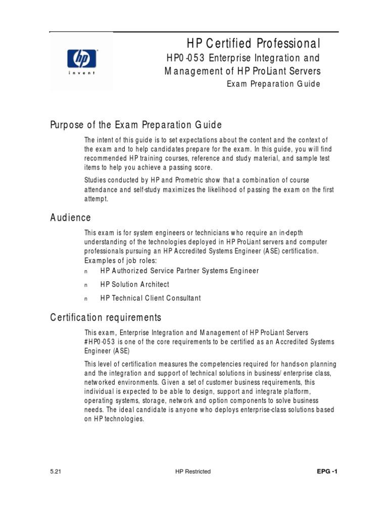 Hp0 053epg Professional Certification Test Assessment