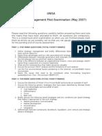 Unisa Pilot Exam May 2007 - Mng301