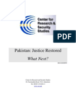 Pakistan - Justice Restored, What Next