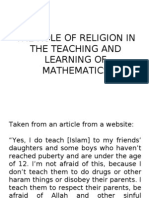 The Role of Religion in the Teaching and Learning of Mathematics