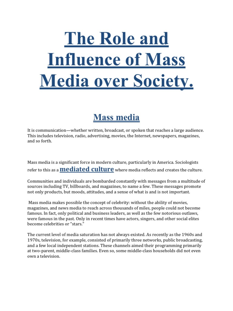importance of mass media essay