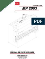 Manual Plegadora Hidraulica MP2003 ESP