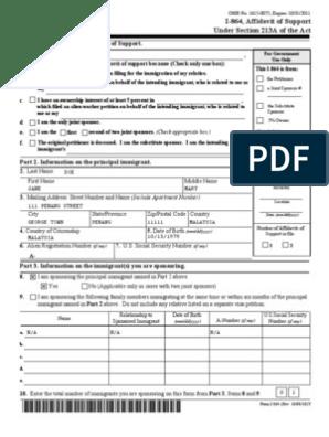 Part 1  Basis for filing Affidavit of Support