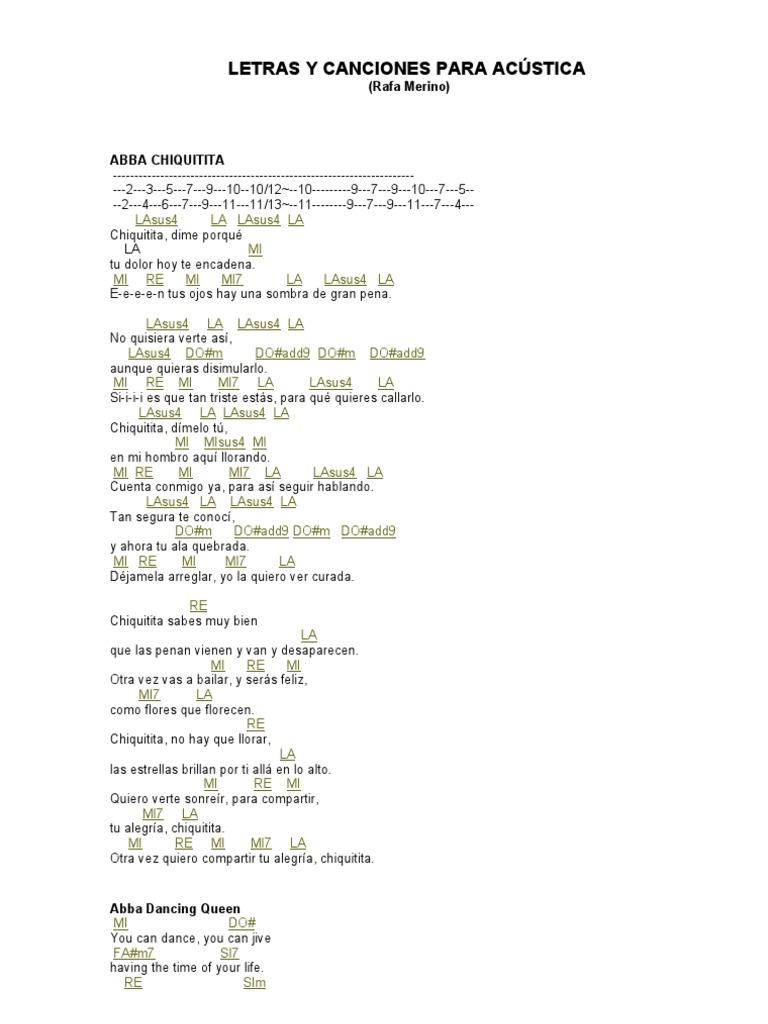 Canciones Y Letras Para Acústica Entretenimiento General Ocio