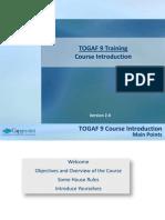 01 - ToGAF 9 Course Introduction v2.0