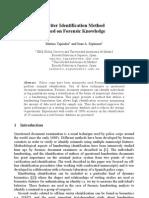 Writer Identification Method Using Forensic Knowledge 2004