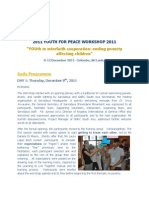 Youth for Peace 2011 Sri Lanka - Daily Program