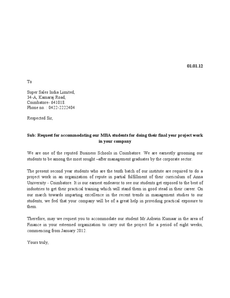 Project Request Letter