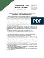 2012 Jan 12 FTUB Women Committee First Congress Statement-Eng-Bur