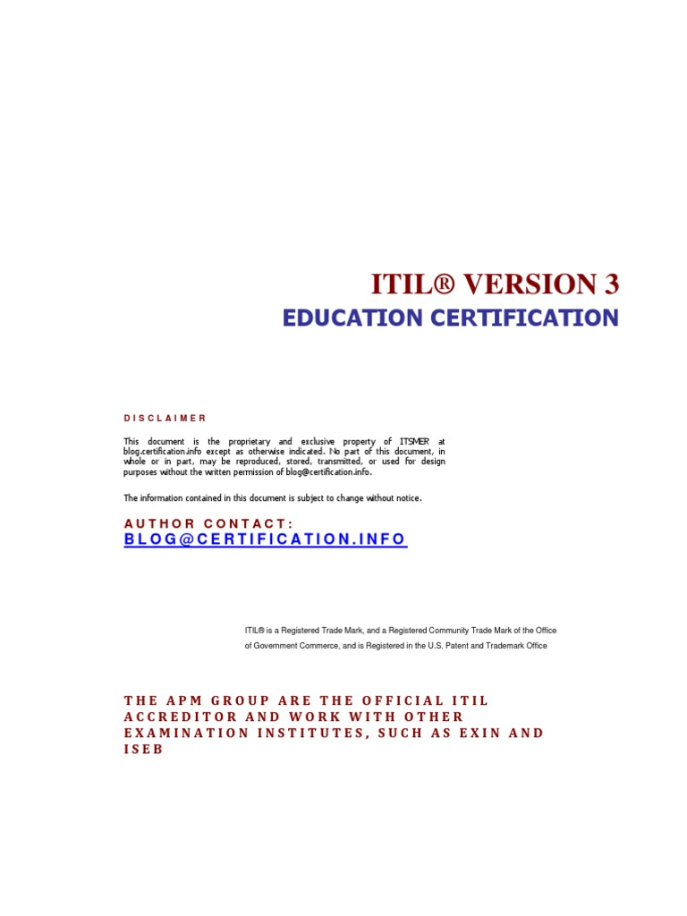 About Itil Education Certification Path Itil Diploma