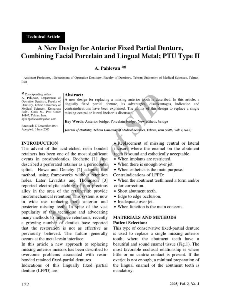 Anterior FPD | Tooth Enamel | Dentures