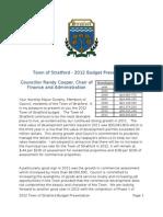 2012 Town of Stratford Budget Presentation