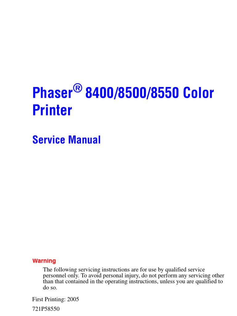 Phaser 8400 8500 8550 Service Manual   Electrostatic Discharge    Electromagnetic Interference