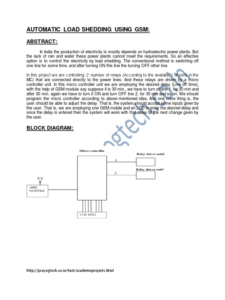 Automatic Load Shedding Using Gsm Hydroelectric Power Plant Schematic Diagram