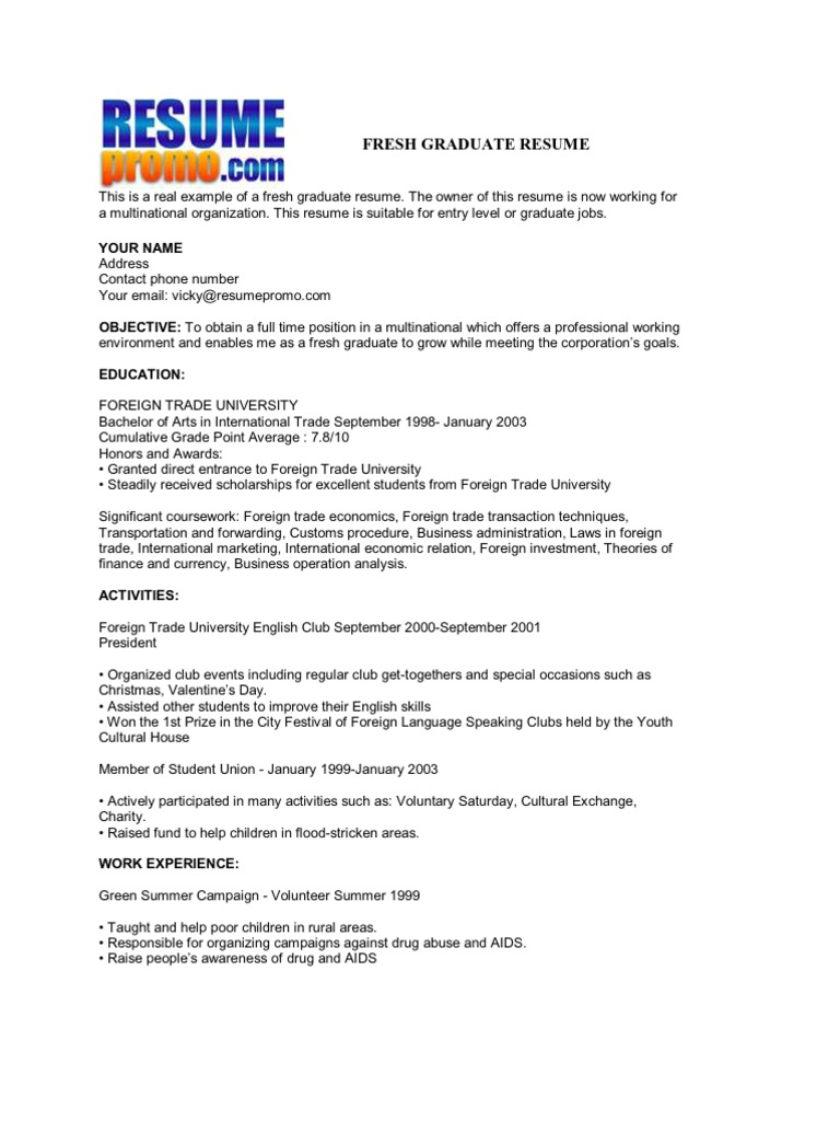 Example Resume Fresh Graduate Business Administration Resume