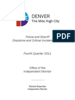 Office of the Independent Monitor Fourth Quarter 2011 Report