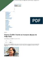 12-01-12 Paloma Guillén Vicente se incorpora al equipo de Peña Nieto