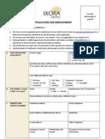 Ixora Hotel-job Application Form