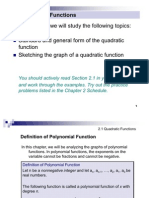 2.1 Quadratic Functions