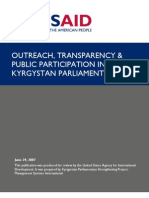Outreach Transparency and Public Participation in the Kyrgystan Parliament