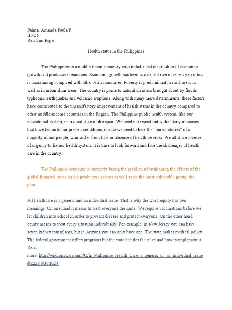 reaction paper 8 essay